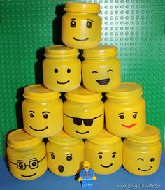 "These cute little Lego-heads are... BABY FOOD JARS! How cool would these be, maybe full of jello for a snack or as a goodie ""bag"" with something neat inside?!?"