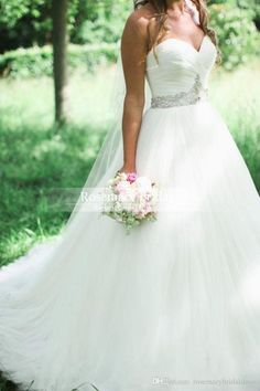 2016 Plus Size White / Ivory Romantic Tulles A Line Wedding Dresses with Sequins Beaded Belt Backless Court Train Sweetheart Bridal Gowns Online with $162.31/Piece on Rosemarybridaldress's Store | DHgate.com