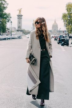 Gray one button coat ..lovely and chic from carolinedemaigret: © Vogue Paris