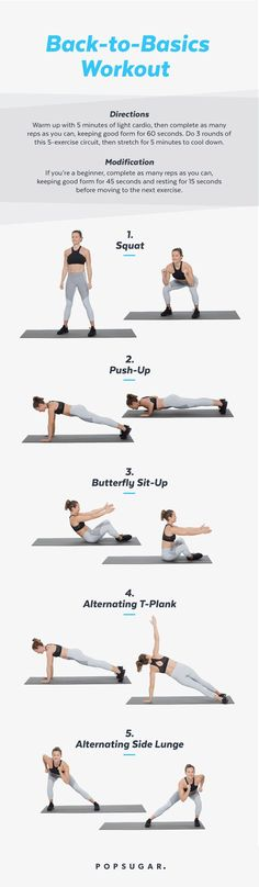 Pinterest: This 5-exercise bodyweight workout of basic moves will work you! Get ready to tone you entire body with absolutely no equipment, no matter your fitness level. It's great for beginners, too.