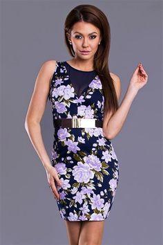 EMAMODA DRESS - BLUE Šifón šaty s kvetmi s pásom http://www.cosmopolitus.com/index.php?language=sk #mini #sukne #saty #elegantne #modne #sportove #lacne #jednoduchy #vzplanula