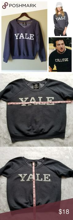 "{Recycled Karma} Cozy YALE Sweatshirt NWOT.  Cozy ""YALE"" college sweatshirt. Never worn. Super duper cute.  Vintage ""Animal House"" vibes! Fraternity / sorority style white block lettering. Intentionally faded letters. Blue- navy charcoal. Lightweight.  ** 20% off all bundles 