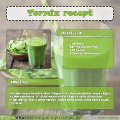 Spenótos zöld turmix recept #turmix #recept #zöldturmix Smoothies, Health Fitness, Herbs, Healthy Recipes, Drinks, Minden, Food, Beverages, Hoods