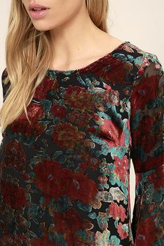 The Elektra Black Velvet Floral Print Dress is everyone's new party favorite! A unique velvet floral print and sheer black fabric shape a rounded neckline and long bell sleeves. Shades Of Red, Black Fabric, Black Velvet, Bell Sleeves, Floral Prints, Dresses, Women, Style, Fashion