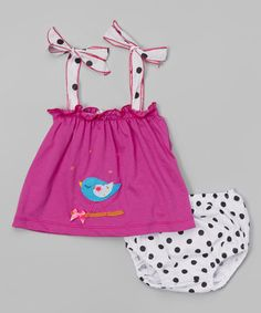 This Fuchsia Bird Top & Polka Dot Diaper Cover - Infant & Toddler by Victoria Kids is perfect! #zulilyfinds