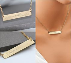 Name Plate Necklace, Bar Necklce Engraved, Large Bar, Engravable Bar, Customized, Personalized Silver, Rose Gold Bar Necklace