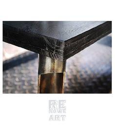 Industrialny Stolik Kawowy Z Czarnego Dębu | 4500,00zł