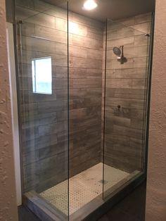 Frameless shower enclosure using two stationary panels Frameless Shower Enclosures, Stationary, Minimalism, Divider, Hardware, Glass, Room, Furniture, Design