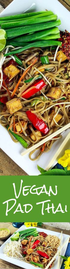 Vegan Pad Thai - http://veganhuggs.com/vegan-pad-thai/ Thinking about ordering take-out tonight? Why not make a healthy version of this popular take-out dish? It's Pad Thai veganized! C'mon over to Vegan Huggs for this delicious and easy recipe. #vegan #glutenfree #padthai