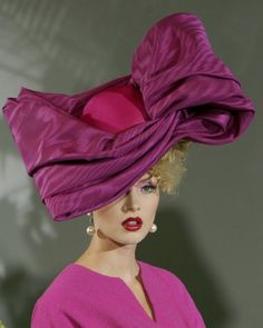 John Galliano for Christian Dior Haute Couture AW John Galliano, Christian Dior, Magenta, Purple, Crazy Hats, Fancy Hats, Glamour, Love Hat, Red Hats