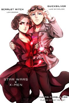 STAR WARS x X-MEN AU Leia Organa - Scarlet Witch - Twin sister of Luke, she is raised as nobility by one of Obi-Wan's closest friends. She is very vocally against the actions of Magneto, who she later learns is her father. Obi-Wan helps her as she...