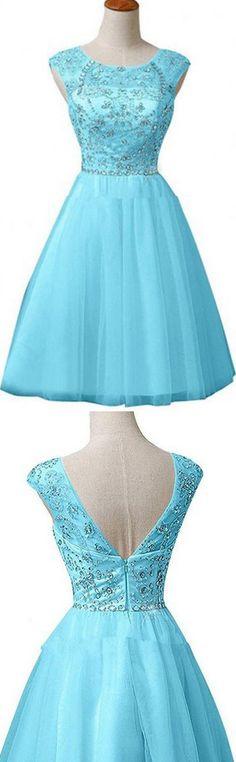 Dramatic Jewel Sleeveless Knee-Length Blue Homecoming Dress with Beading Rhinestones