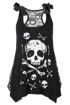 Women's Skull And Crossbones Top With Lace Back - Black -Rebel Circus