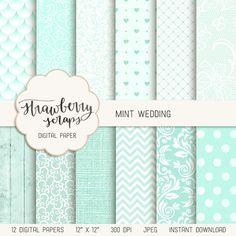 Mint wedding digital paper by Strawberry Scraps #scrapbooking #projectlife #digitalpaper #planner #scrapbook