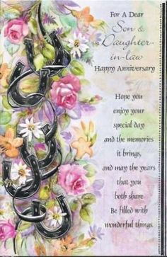 happy anniversary for son and daughter in law Anniversary Quotes For Couple, Marriage Anniversary Quotes, Happy Wedding Anniversary Wishes, Birthday Wishes For Daughter, Anniversary Greetings, Sister Birthday Quotes, Wedding Congratulations, Dad Birthday, Birthday Greetings