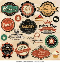 Collection of vintage retro grunge food labels, badges and icons - buy this stock vector on Shutterstock & find other images. Vintage Logo, Vintage Design, Vintage Labels, Retro Vintage, Vintage Style, Vintage Inspired, Vintage Bakery, Vintage Colors, Images Vintage