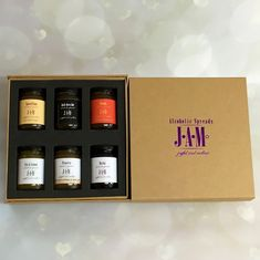 Gift box of 6 Alcoholic Jams - Gin Jam, Prosecco Jam and more.
