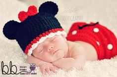 Minnie mouse Newborn 3 piece set crochet made by BeccasBeanies