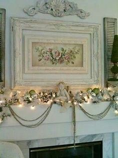 Festive, shabby chic fire focal place