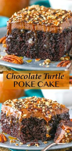 This Chocolate Turtle Poke Cake is a moist chocolate cake soaked with caramel sauce and topped with caramel chocolate frosting and chopped pecans! It's a delicious poke cake recipe made completely from scratch! Best Chocolate Desserts, Decadent Chocolate, Chocolate Frosting, Chocolate Cake, Poke Cake Recipes, Poke Cakes, Best Cake Recipes, Dessert Recipes, No Bake Desserts