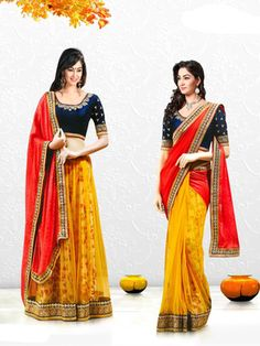 RED and YELLOW hand woven georgette saree with blouse