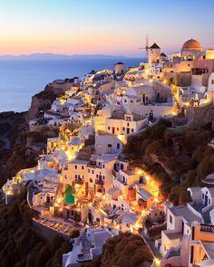 Art Sunset, Oia, Santorini island, Greece vacation