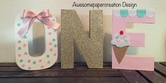 One letters8inchespaper mache letters ice cream lettersice