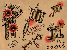 Tattoo flash of various old school objects. www.parlortattooprints.com