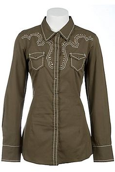 Ariat Skylar Ladies Olive Green Studded Long Sleeve Western Shirt