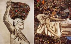 Giant portraits out of garbage from Vik Muniz