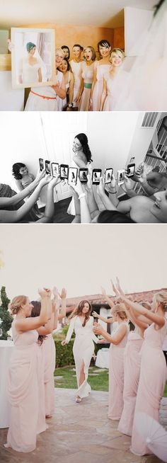 25 Fun Wedding Photo Ideas and Poses for Your Bridesmaids! First look with the girls!