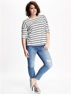 burnout sweater-knit plus-size tee | old navy | pinterest | navy