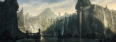 Artwork by Noah Bradley Environment concept art Fantasy city Fantasy landscape