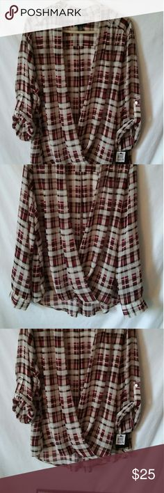 Alfani sheer plaid top 20w Bought on sale without cami that goes under but never wore it,still has tags. Super cool sheer cross front top,slightly longer in the back,burgundy,cream & tan.  Excellent condition Alfani Tops