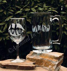 Personalized Wine Glass and Mug, Beer Mug, Etched Glass Beer Mug, Etched Wine Glass, Mr. and Mrs. Drinkware, Wedding Gift, Anniversary Gift by AnchorInCreativity on Etsy