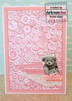Cute baby card using Darkroom Door 'Buttons' Background Stamp. Created by Teresa Abajo