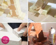 Como hacer letras decorativas de cartón paso a paso