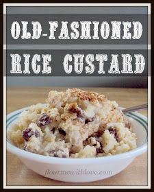 Old-fashioned creamy Rice Custard! This is a simple dessert this holiday season … Old Fashioned Creamy Rice Custard! This is a simple dessert this holiday season; Easy Desserts, Delicious Desserts, Dessert Recipes, Yummy Food, Keto Desserts, Healthy Food, Rice Pudding Recipes, Rice Recipes, Rice Puddings