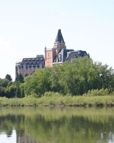 Shot from Saskatchewan River through Saskatoon. Geography, Canada, River, Spaces, Mansions, House Styles, Mansion Houses, Villas, Luxury Houses