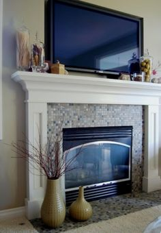 Facts About How to Decorate a Fireplace? : How To Decorate A Fireplace Mantel With A TV. How to decorate a fireplace mantel with a tv. Tv Above Fireplace, Fireplace Redo, Fireplace Hearth, Fireplace Remodel, Fireplace Surrounds, Fireplace Design, Fireplace Ideas, Tv Mantle, Fireplace Stone