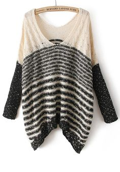 Beige Striped Sequin Spun Gold Irregular Blend Sweater