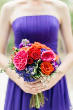 bridesmaid bouquet with Regency purple bridesmaid dresses from David's Bridal