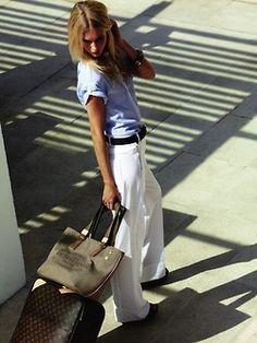 white linen pants, denim top