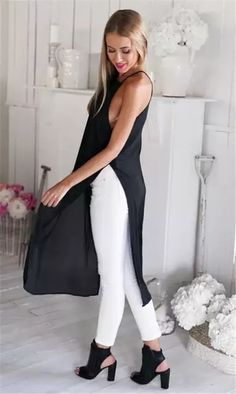 Womens Solid Summer Beach Mid dress Evening Party Dress Split dress new Casual Chic, Maxi Tee, Stylish Outfits, Cute Outfits, Long Tops, Dress To Impress, Ideias Fashion, Tees, Dress Up