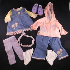 American Girl Bitty Baby Doll Pink Heart Jeans Denim Dress Jacket Hose Plaid LOT #ClothingShoes