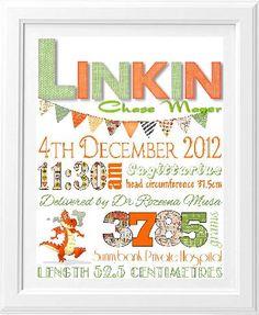 Brash Designs Personalised Art, birth print, birth announcement, newbon gift   Birth Announcements