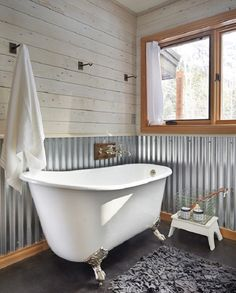 Corrugated metal wall w/ Shiplap