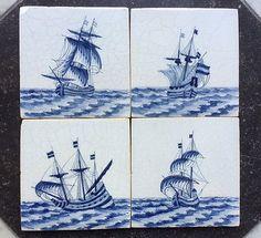 Antique-Set-of-4-Dutch-Delft-Tile-Ship-V-O-C-19TH-C