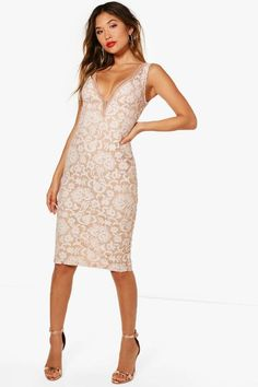 03af380bba Boutique Fi Lace Off the Shoulder Midi Dress $42 boohoo Blush Cocktail Dress,  Bodycon Fashion