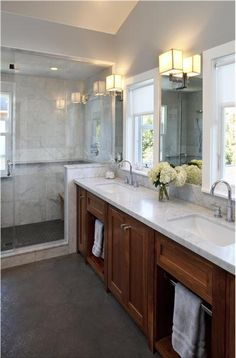 Relaxing Transitional Bathroom by Tineke Triggs: Towel rack in cabinet idea
